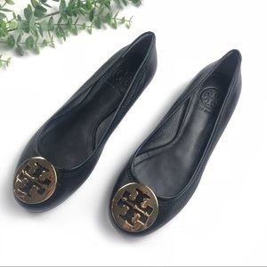 Tory Burch | Black and Gold Leather Flats size 6